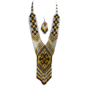 Multi-colored Tribal Naga Necklace and earring set made of premium beads