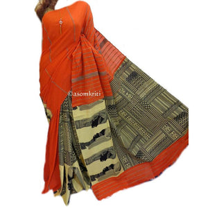 Orange and printed half and half Khesh cotton handloom saree
