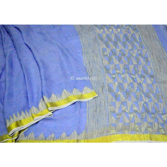 Soft light blue colored linen handwoven saree with full Zari border work