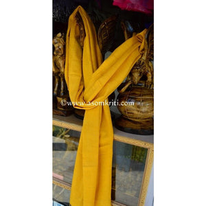 Yellow pure Eri silk soft Assamese Stole or Dupatta for multipurpose use