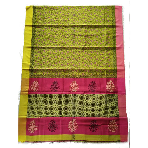 Multi-colored printed handwoven silk cotton Maheshwari Saree