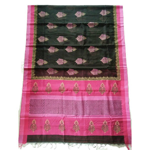 Printed in black handwoven silk cotton Maheshwari Saree