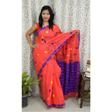 Assam kaziranga light weight cotton saree with Rhino and elephant motif in tomato red