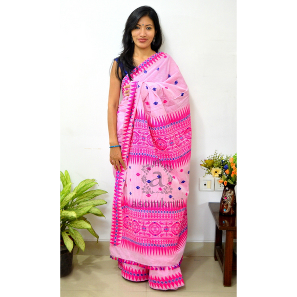 Assam cotton saree with Bodo Tribal Aronai design motif in pink