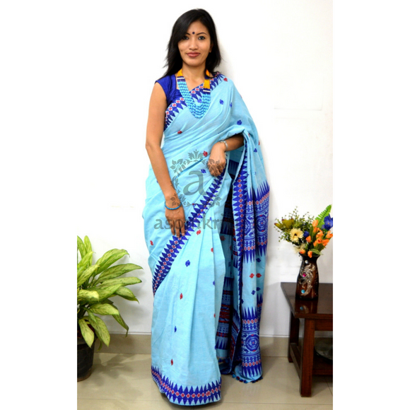 Assam cotton saree with Bodo Tribal Aronai design motif blue