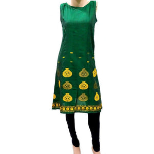Pine green Assamese design handwoven cotton kurti