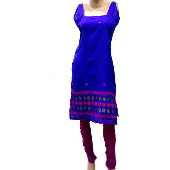 Royal blue colored Assamese design handwoven cotton kurti
