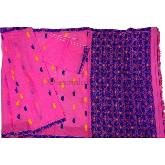 Assam kaziranga light weight cotton saree with Rhino and elephant motif in baby pink
