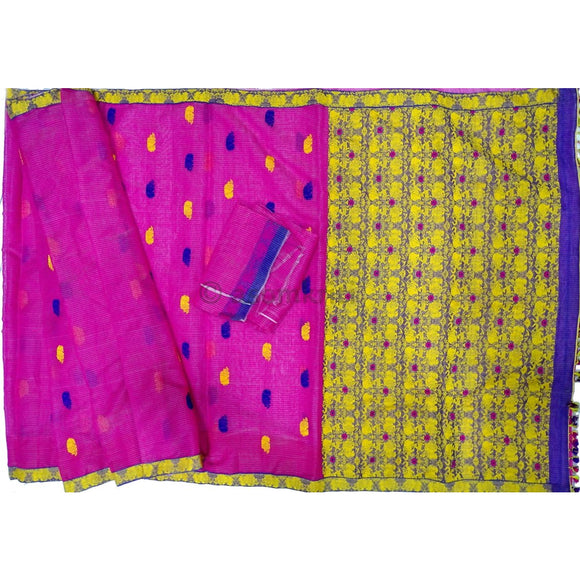Assam kaziranga light weight cotton saree with Rhino and elephant motif in pink