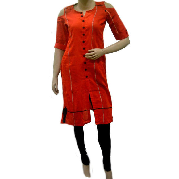 Orange colored Applique work kurti made of soft khesh cotton