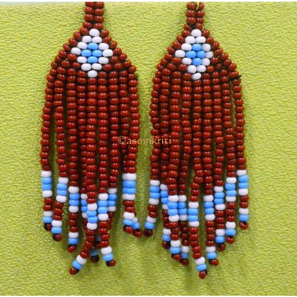 Brown colored handmade Tribal Naga Earrings made of premium beads (Click product for more options)