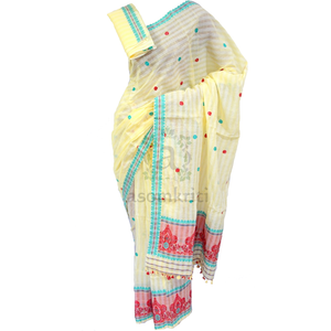 Cream colored soft cotton mekhela chadar for casual use