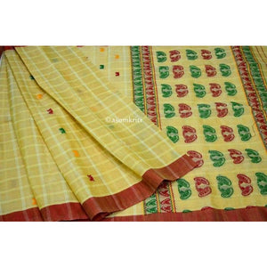 Japi motif handwoven saree with premium quality mercerized cotton