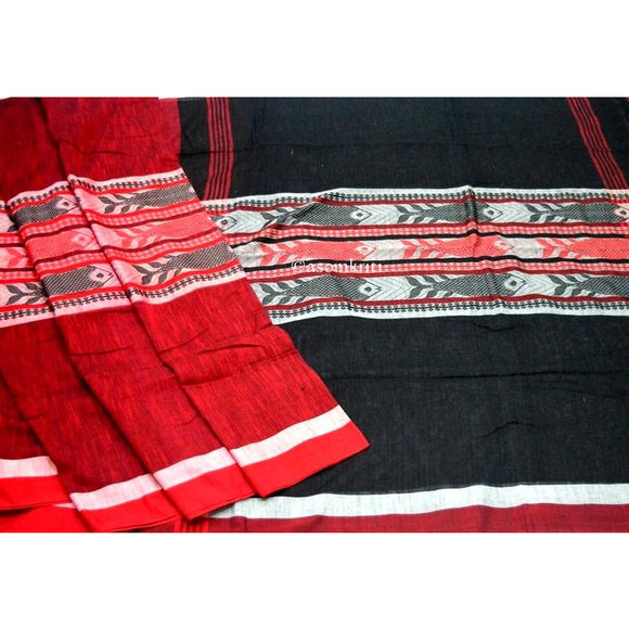 Maroon colored with black pallu Intricate Fish Motif woven on Bengal Handloom Cotton saree