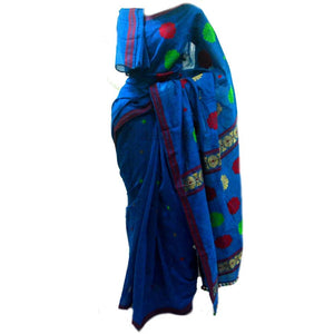 Persian blue colored staple cotton Assamese saree for casual use