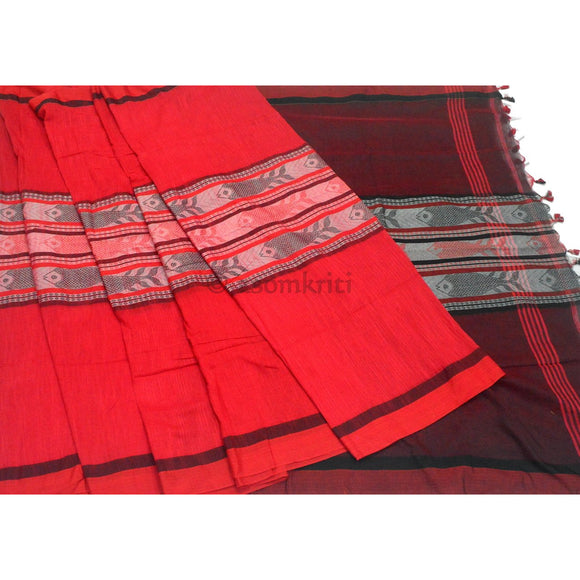 Red colored with black pallu Intricate Fish Motif woven on Bengal Handloom Cotton saree
