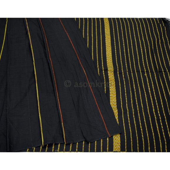 Pure handloom premium quality black colored Khesh cotton saree