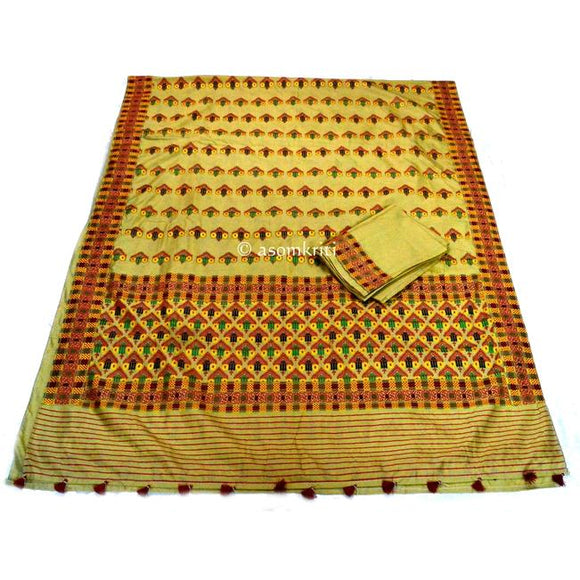 Gicha silk saree with traditional Assamese design