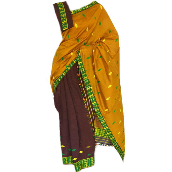 Biscuit color and brown color contrast mekhela chadar in cotton