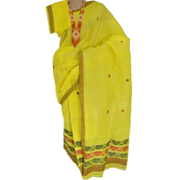 Bright yellow colored Nuni silk cotton blended mishing tribal design mekhela chadar