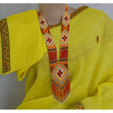Bright yellow colored cotton blended mishing tribal design mekhela chadar