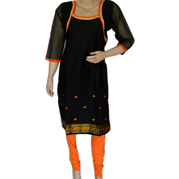 Black colored Assamese weave handwoven cotton kurti