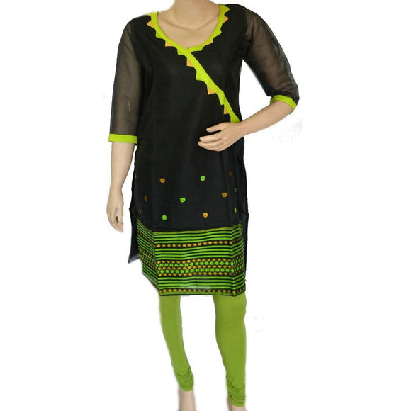 Black colored Assamese weave design handwoven cotton kurti