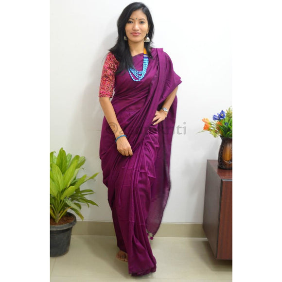 Romantic Khadi Cotton saree in dark magenta for super comfy drape