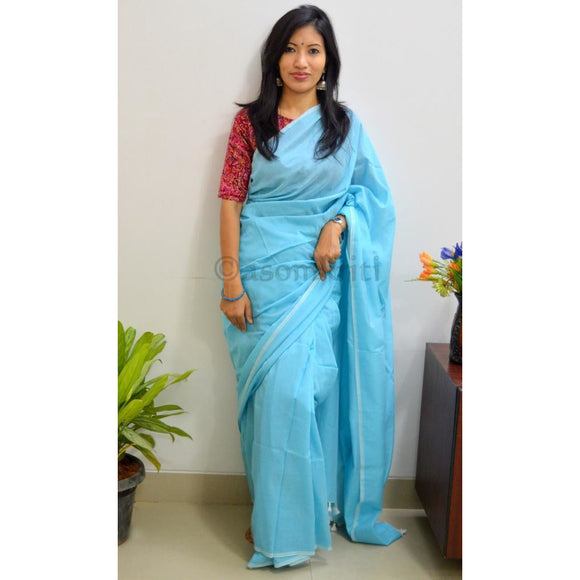 Easy breezy Khadi Cotton saree in sky blue for super comfy drape