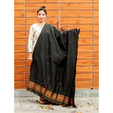 Gorgeous Black colored single chadar cum dupatta in semi paat silk