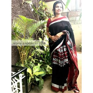 Intricate Fish Motif woven on Black Bengal Handloom Cotton saree