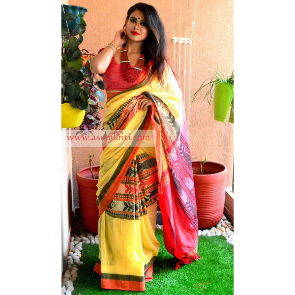 Pineapple Yellow Intricate Fish Motif woven on Bengal Handloom Cotton saree