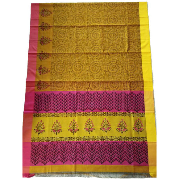 Printed handwoven silk cotton Maheshwari Saree