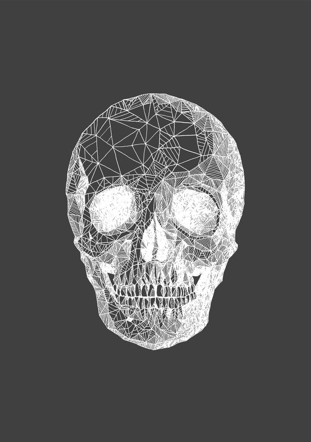 Skull - White On Grey