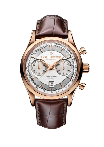 Carl F. Bucherer Manero Flyback 18K Rose Gold 43mm Silver Dial - The Luxury Well