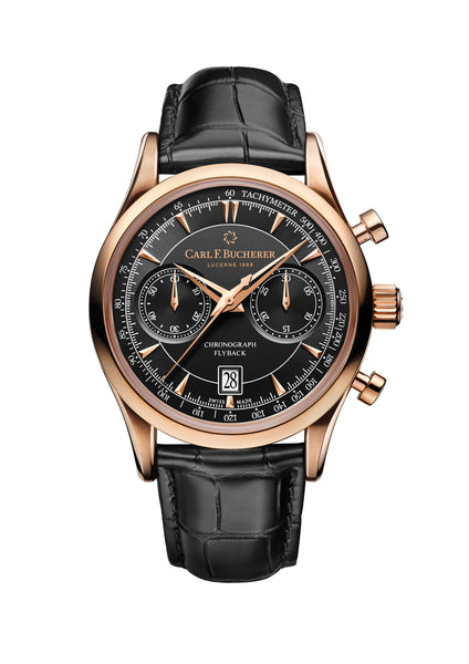 Carl F. Bucherer Manero Flyback 18K Red Gold 43mm Black Dial - The Luxury Well