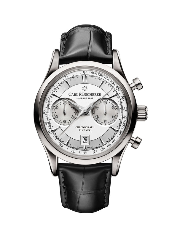 Carl F. Bucherer Manero Flyback Stainless Steel 43mm Silver Dial - The Luxury Well