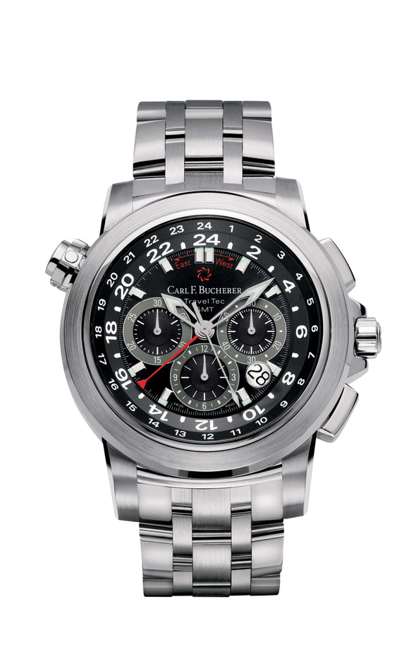 Carl F. Bucherer Patravi Traveltec Stainless Steel Bracelet Black Dial - The Luxury Well