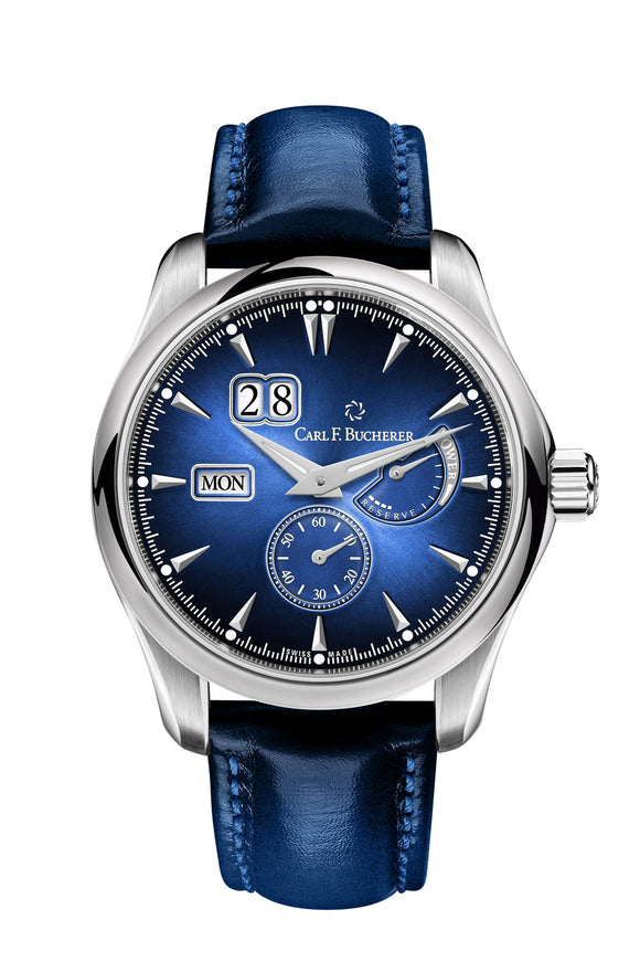 Carl F. Bucherer Manero Power Reserve Stainless Steel Blue Dial - The Luxury Well