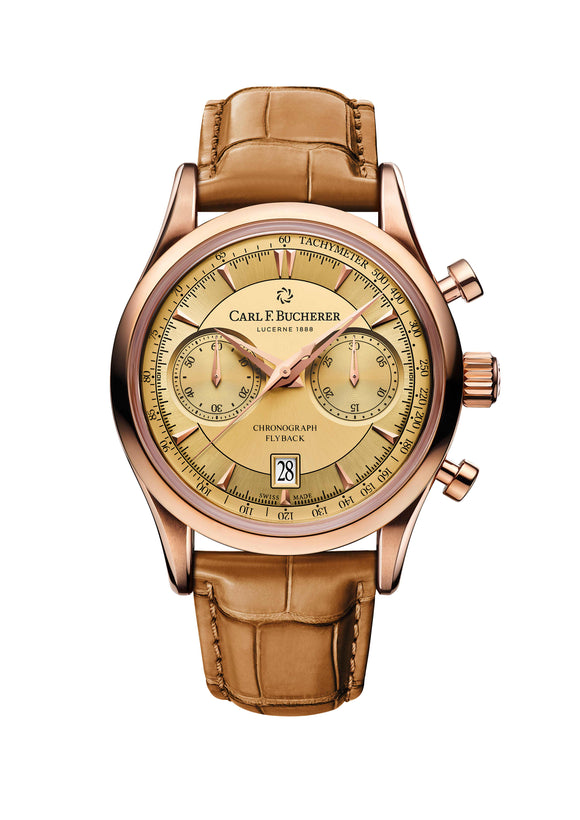 Carl F. Bucherer Manero Flyback 18K Rose Gold 43mm Gold Dial - The Luxury Well