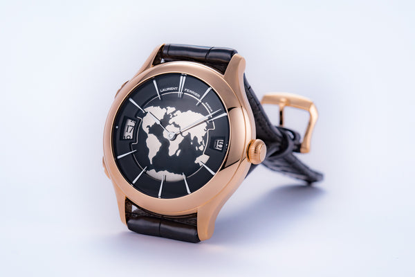 Laurent Ferrier Galet Traveller Black Globe Champleve Enamel Special Rose - The Luxury Well
