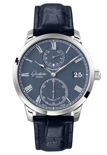 Glashütte Original Senator Chronometer 18kt White Gold Blue Ref. 58-01-05-34-30 - The Luxury Well