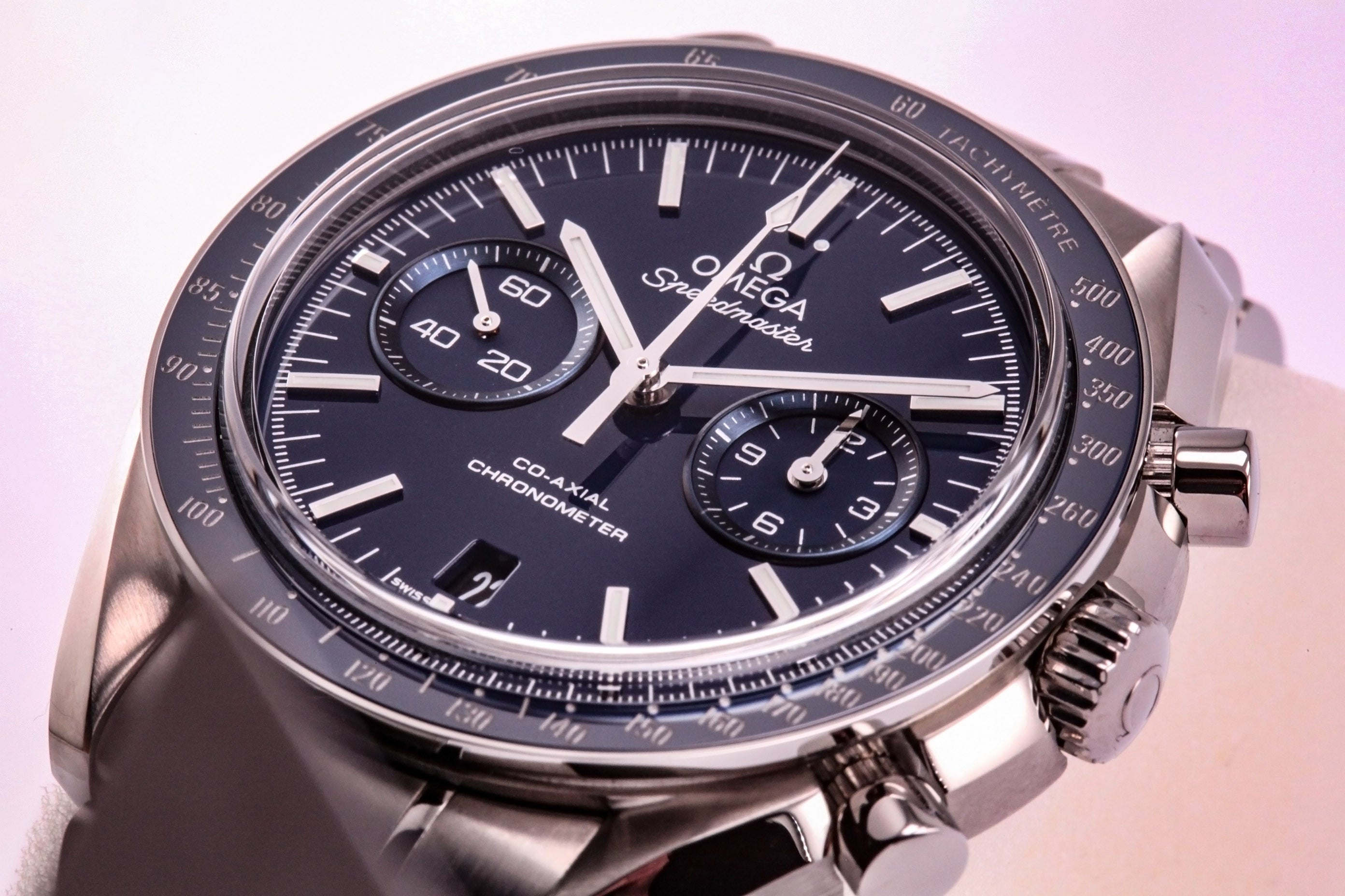 Omega Speedmaster Professional Moon Co Axial Blue Dial Titanium