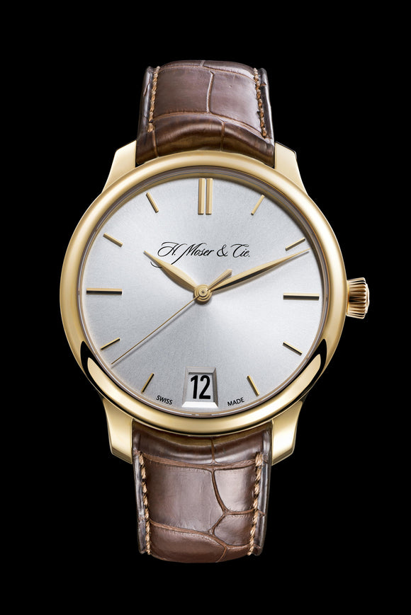 H.Moser & Cie. Endeavour Center Big Date Rose Gold, Argenté Dial - The Luxury Well