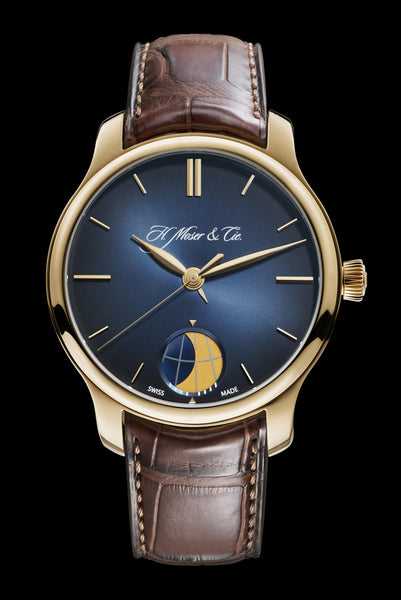 H.Moser & Cie. Endeavour Moon 18k Rose Gold Midnight-Blue fumé - The Luxury Well