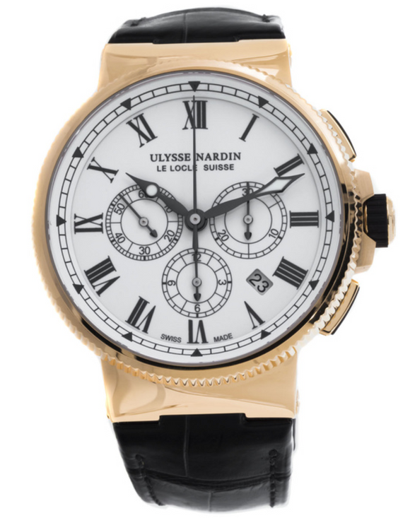 Ulysse Nardin Maxi Marine Chronograph White Dial 18K Rose Gold 43mm - The Luxury Well