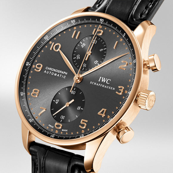 IWC Portuguese Chronograph 18kt Rose Gold Black Dial, black strap
