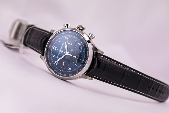 Baume et Mercier Capeland Automatic Chronograph Blue Dial Black Alligator - The Luxury Well