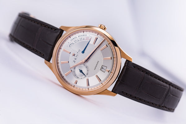 Zenith Elite Captain Power Reserve 18kt Rose Gold Silver Guilloché - The Luxury Well