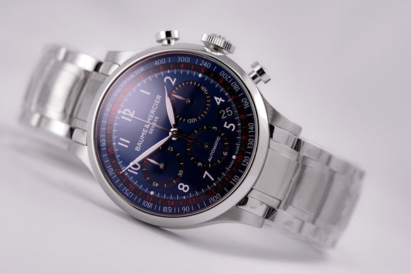Baume & Mercier Capeland Automatic Chronograph Blue Dial Steel Bracelet - The Luxury Well